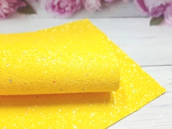 Искусственная кожа с глиттером и разноцветными пайетками матовая цв. желтый 20х30см.