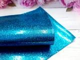 """Искусственная кожа """"соты"""" цв. ярко-голубой хамелеон 20х30см."""