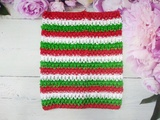 Топ - основа для платьев tutu в полоску цв. белый+красный+зеленый  23х20 см.