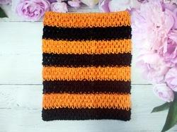 Топ - основа для платьев tutu в полоску цв. черный+оранжевый  23х20 см.