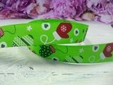 """Репсовая лента цв. зеленый с рисунком """"Варежки"""" 25 мм."""
