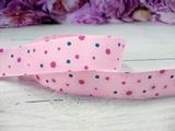 """Репсовая лента цв. розовый с рисунком """"Ромашки"""" 25 мм."""