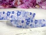 """Репсовая лента с рисунком """"цветы"""" С-05 25 мм."""