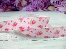 """Репсовая лента с рисунком """"розочки"""" цв. розовый 25 мм."""