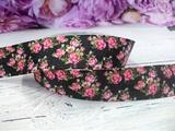 """Репсовая лента с рисунком """"цветы"""" С-06 25 мм."""