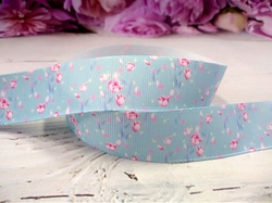 """Репсовая лента с рисунком """"тюльпаны"""" цв. голубой 25 мм."""