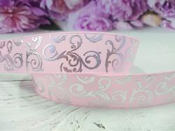 Репсовая лента с серебряным орнаментом цв. розовый 25 мм.