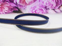 Репсовая лента с люрексом цв. темно-синий 9 мм.