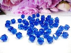 Бусины акриловые многогранные цв. синий, куб 10х10 мм. (50 шт.)