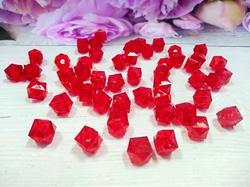 Бусины акриловые многогранные цв. красный, куб 10х10 мм. (50 шт.)