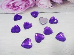 """Кабошоны """"сердце"""" цв. фиолетовый D16 мм. (10 шт.)"""
