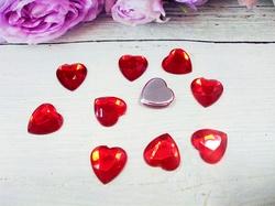 "Кабошоны ""сердце"" цв. красный D16 мм. (10 шт.)"