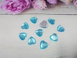"Кабошоны ""сердце"" цв. ярко-голубой D16 мм. (10 шт.)"
