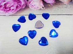 "Кабошоны ""сердце"" цв. синий D16 мм. (10 шт.)"