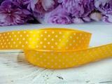 Атласная лента в горох цв. желтый 20 мм.
