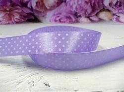 Атласная лента в горох цв. фиолетовый 20 мм.