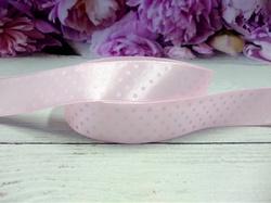 Атласная лента в горох цв. светло-розовый 20 мм.