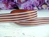 Атласная лента в полоску цв. светло-коричневый 25 мм.
