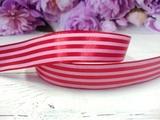 Атласная лента в полоску цв. красный 25 мм.