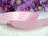 Атласная лента в полоску цв. пыльно-розовый 25 мм.