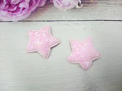 Звезда из кожзама с глиттером цв. розовый перламутр 40 мм.