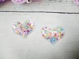 Патч сердце с наполнением цв. разноцветный перламутр 40х30 мм.