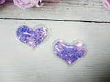 Патч сердце с наполнением цв. фиолетовый перламутр 40х30 мм.