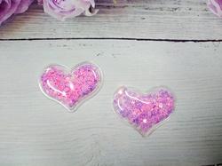 Патч сердце с наполнением цв. розовый перламутр 40х30 мм.