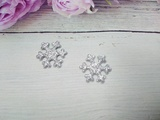 Снежинка с глиттером цв. серебро 22мм.