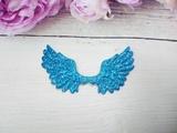 Крылья с глиттером цв. голубой 70х43 мм.