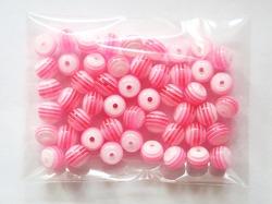 Бусины в полоску цв. розовый D 8 мм. (50 шт.)