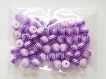 Бусины в полоску цв. фиолетовый D 8 мм. (50 шт.)