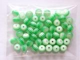 Бусины в полоску цв. зеленый D 8 мм. (50 шт.)