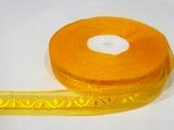 Лента из органзы с жаккардовым узором цв. светло-оранжевый 20 мм.