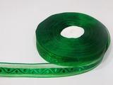 Лента из органзы с жаккардовым узором цв. зеленый 20 мм.