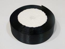 Атласная лента цв. черный 25 мм.