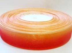 Лента из органзы цв. красный+персик 25 мм.(5м.)