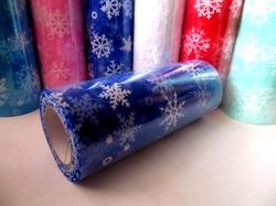 """Фатин в шпульке """"снежинки"""" цв. синий 10 ярд."""