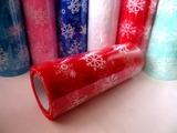 """Фатин в шпульке """"снежинки"""" цв. красный 10 ярд."""
