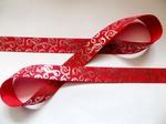 Репсовая лента с серебряным орнаментом цв. красный 25 мм.