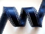 Атласная лента двусторонняя с перфорацией цв. темно-синий 30 мм.