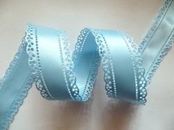 Сатиновая лента двусторонняя с перфорацией цв. светло-голубой 30 мм.