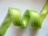 Атласная лента двусторонняя с перфорацией цв. светло-оливковый 30 мм.