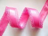 Атласная лента двусторонняя с перфорацией цв. ярко-розовый 30 мм.