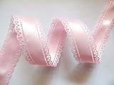 Атласная лента двусторонняя с перфорацией цв. светло-розовый 30 мм.