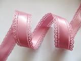 Атласная лента двусторонняя с перфорацией цв. пыльно-розовый 30 мм.