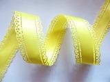 Атласная лента двусторонняя с перфорацией цв. желтый 30 мм.