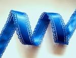 Атласная лента двусторонняя с перфорацией цв. синий 30 мм.