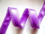 Атласная лента двусторонняя с перфорацией цв. фиолетовый 30 мм.