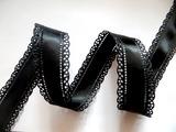Сатиновая лента двусторонняя с перфорацией цв. черный 30 мм.